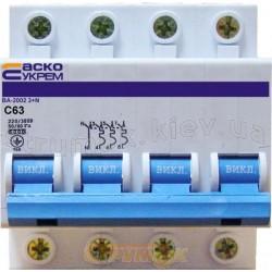 Автоматический выключатель Укрем ВА-2002 4р 63А C 6кА (3+N) АсКо 4-полюсный A0010020018