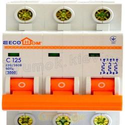 Автоматический выключатель ECOHOME  3p D 125A Аско Укрем ECO 3-полюсный ECO070010006