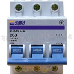 Автоматический выключатель Укрем ВА-2001 3р 63А С 6кА AcKo 3-полюсный A0010010049