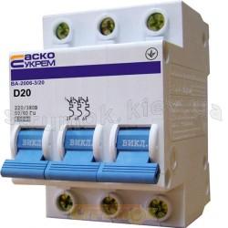 Автоматический выключатель Укрем ВА-2006 3р 20А D 6кА АсКо 3-полюсный A0010060023