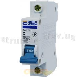 Автоматический выключатель Укрем ВА-2001 1р 20А С 6кА AcKo 1-полюсный A0010010021