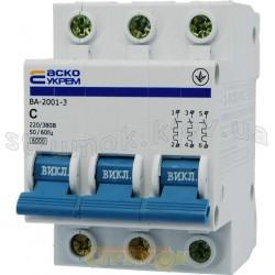 Автоматический выключатель Укрем ВА-2001 3р 25А С 4,5кА AcKo 3-полюсный A0010010045