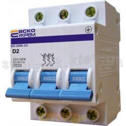 Автоматический выключатель Укрем ВА-2006 3р 2А C 6кА АсКо 3-полюсный A0010060016