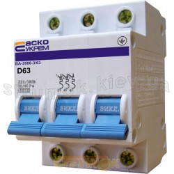 Автоматический выключатель Укрем ВА-2006 3р 63А C 6кА АсКо 3-полюсный A0010060028