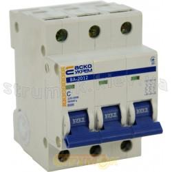 Автоматический выключатель Укрем ВА-2012 3р 20А С 6кА AcKo 3-полюсный A0010120022