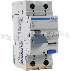 Дифференциальный автоматический выключатель 1+N 10A 0,03А (30mА) В,6кA,тип A 2m AD910J Hager