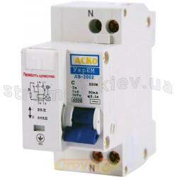 Дифференциальный автомат ДВ-2002 32А С 30mA (0,03А) УкрЕМ АСКО