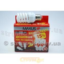 Лампа энергосберегающая МАХUS New Full - spiral 15Wатт 4100K E27 (Цена за упаковку - 3шт).