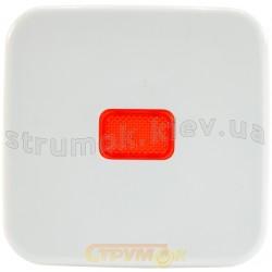 Клавиша 1-одинарная с красной линзой 2509-214 ABB Reflex белый цвет
