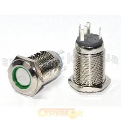 Кнопка металлическая с красной подсветкой TYJ 16-362 2NO+2NC 220V с фиксацией Укрем Аско A0140010103
