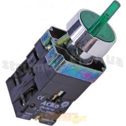 Кнопка XB2-BK2365 зеленая поворотная 2-х позиционная с подсветкой