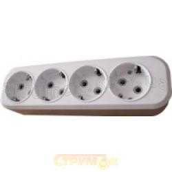 Колодка  кассета 4 гнезда Z (с заземлением) (2Р+РЕ) КП-3-04 для электроудлинителя