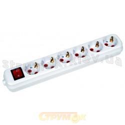 Колодка | кассета Horoz Elekrik 6 гнезд ZW (с заземлением/выключателем) для электроудлинителя 200-600-602 Турция