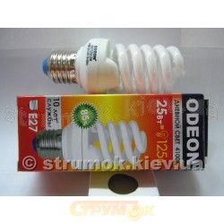 Лампа енергосберегающая Спираль E-27, 25W, 4100K. SN27D25A Odeon