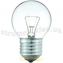 Лампа накаливания Philips Р-45 E27 60W прозрачная (шар)
