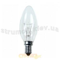 Лампа накаливания ДС230-240В 40Вт Е14 прозрачная (свеча)