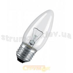 Лампа накаливания ДС230-240В 60Вт Е27 прозрачная свеча