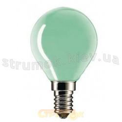 Лампа накаливания Philips Р-45 E27 15W зеленая, шар