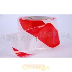 Лента оградительная полиэтиленовая красно-белая рулон 100м