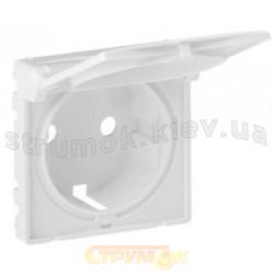 Лицевая панель для розетки 2К+3 с заземлением и крышкой Valena Life 754840 белая