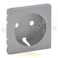 Лицевая панель для розетки 2К+3 с заземлением Valena Life 755202 алюминий