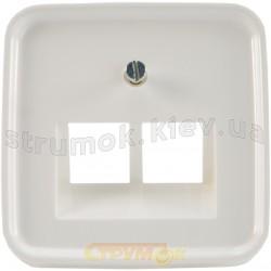 Лицевая накладка компьютерной 2-двойной розетки RJ-45 1803-02-214 ABB Reflex белый цвет