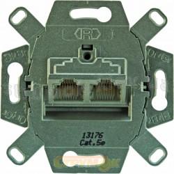 Механизм компьютерной розетки RJ45 Cat5e 0217 двойной экранированный с наклонным выходом с клеммами ABB Reflex / Bush Duro