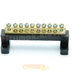 Нулевая шина Укрем АсКо 9х14мм 10 отверстий A0150120013 на пластиковой базе