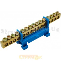 Шина нулевая с изоляцией на Din -рейку S.P086 6*9 15 отверстий АСКО
