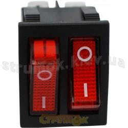 Переключатель KCD8 Аско 2-клавишный с красной подсветкой