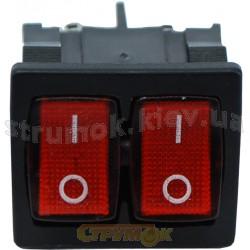 Переключатель KCD9 Аско 2-клавишный с красной подсветкой