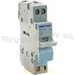 Переключатель ввода резерва SFB125(SF119) Hager трехпозиционный 230В 25А 1-полюсный