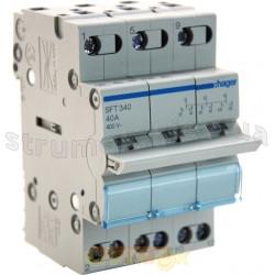 Переключатель ввода резерва трехпозиционный/230В/40А ,3-полюсный,3м, SFT340(SF319G) Hager