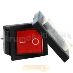 Переключатель YL208-01 Аско клавиша с защитой (красный цвет)