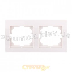 Рамка 2-двойная LEZARD DERIY 702-0200-147 горизонтальная белого цвета б/вст