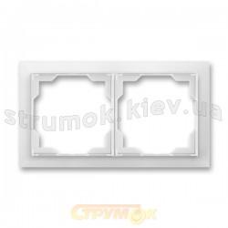 Рамка 2-постовая горизонтальная белый/белый лед Neo 3901M-A00120 01