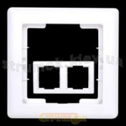 Рамка 2-постовая горизонтальная белый цвет HANAK GES