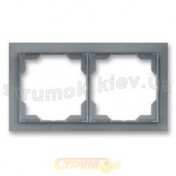 Рамка 2-постовая горизонтальная белый/серый лед Neo 3901M-A00120 44