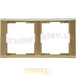 Рамка 2-постовая 3901F-A00120 33 ABB Time шампань / металлик