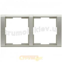 Рамка 2-постовая 3901F-А00120 Time element Tangoсеребряный металлик