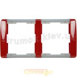 Рамка 2-постовая ABB Time 3901E-A00120 24 карминовый / серый лед