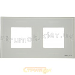 Рамка 2-постовая ABB Zenit N2272 СВ стекло белое