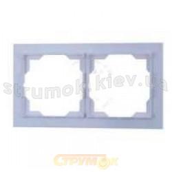 Рамка 2-постовая горизонтальная белый/синий лед 3901M-A00120 41 Neo ABB
