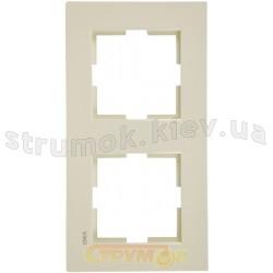 Рамка 2-постовая вертикальная Viko Karre кремовый цвет 90960231