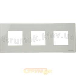 Рамка 3-постовая ABB Zenit N2273 СВ стекло белое