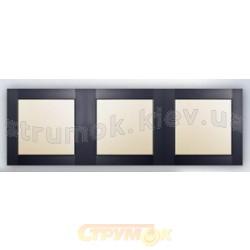 Рамка 3-постовая (антрацит) Fiorena 22011810 Hager / Polo