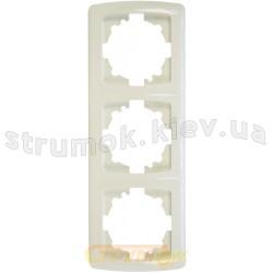 Рамка 3-постовая вертикальная Viko Carmen белый цвет