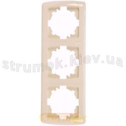 Рамка 3-постовая вертикальная Viko Carmen кремовый цвет 90572003