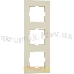 Рамка 3-постовая вертикальная Viko Karre кремовый цвет 90960232