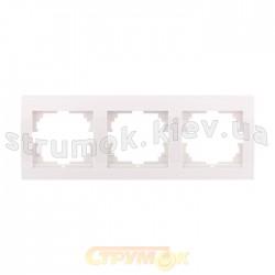 Рамка 3-тройная LEZARD DERIY 702-0200-148 горизонтальная белого цвета б/вст